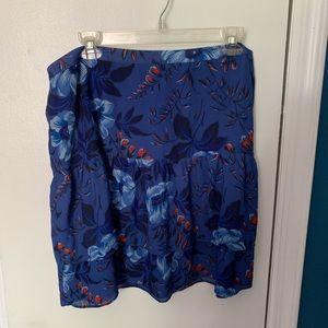 LOFT floral ruffle mini skirt